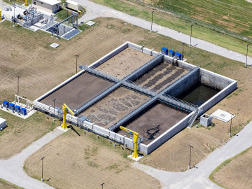 Aerial view of an EcoCycle sequencing batch reactor system with common wall construction