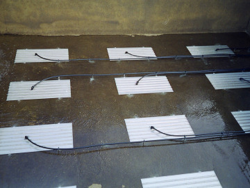 HiOx Messner aeration panels in an oxidation ditch