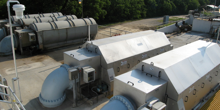 Two Rotoshear® Internally Fed Rotary Screens at Installation Site