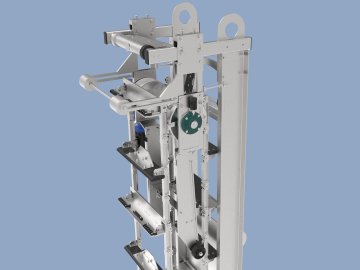Expulsionator system for solids deflection on the Aqua Caiman Vertical screen