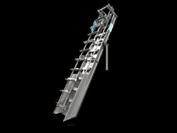 Side View of Aqua Caiman® In-Channel Articulating Rake Screen